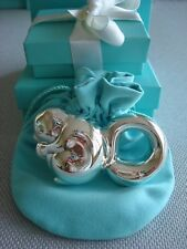 TIFFANY sterling silver ~MINT~ BABY RATTLE SQUIRREL box,pouch,card,bag