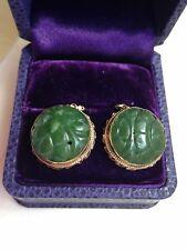 Antique Carved Vert Chinois Jade Pierre Boucles d'oreilles en or lunette avec Argent Crochets