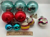 12 Misc. Antique Christmas Ornaments Mixed Lot, Shiny Brite, 2 UNSILVERED