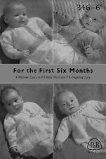 Vintage Knitting Pattern  baby 4 cardigans  1940s ww11   Patons No 346