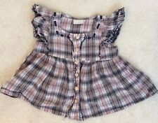 Girls Blue and pink Checked Short Sleeve Blouse Age 2-3 years from Next