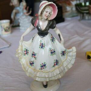 Porzellanfigur Sommermädchen, Katzhütle, bunt, 25 cm