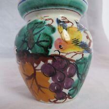 Vintage Italy Pottery Condiment Jar Mustard  Majolica