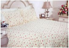 Shabby Cottage Chic ROMANTIC PINK ROSES & BUTTER CREAM QUEEN QUILT SET 3PC