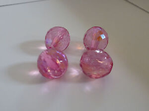 Tube of 4 Gutermann 12mm Faceted Ball Glass Beads in Pink Col. 4210