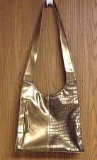 Elegant Imitation Leather Metallic Gold Colored Handbag Shoulder bag preowned