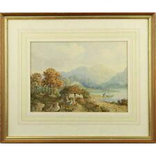 Original Antique Victorian Lakeland Cottage Watercolour Landscape Painting