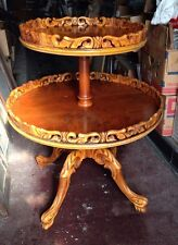Super Fancy 1940's French Highly Carved Tier Table In Satin Walnut Shipping ???