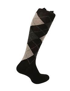 Men's Egyptian cotton socks. Argyle Design. Grey / Black Made in Italy.