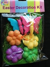 Easter Decorating Kit Grass Butterflies Flowers Bonnet decorating Spring CRAFTS