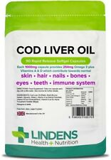 Lindens Cod Liver Oil Strong 1000mg X 90 Capsules Heart Joint Health Supplement
