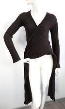 IOANNA KOURBELA Womens Brown Knit Ribbed Cardigan Tunic Asymetric one size