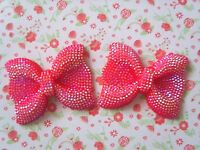2 x Large Sparkly Red AB Resin Bows Flatback Embellishment Crafts Cabochon UK
