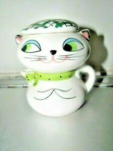 1959 Holt Howard COZY KITTEN CAT Plaid Stacking CREAMER LIDDED SUGAR BOWL (3 PCE