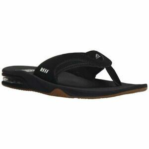NWT REEF Fanning Flip Flops Men's Black/silver Sandals Bottle Opener 9 10 12