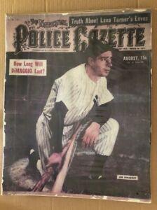 Police Gazette Original Vintage Poster Joe DiMaggio New York Yankees Baseball