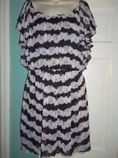 NEW - Miss Sixty M60 - Black & White Polka Dot & Pink Floral Ruffled Dress - 14
