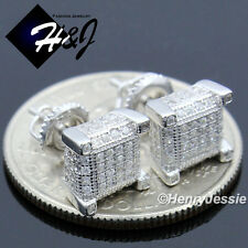 MEN 925 STERLING SILVER 7X7MM LAB DIAMOND ICED 3D SCREW BACK STUD EARRING*E128