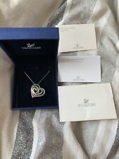 100% AUTHENTIC LADIES SWAROVSKI  REVERSIBLE HEART NECKLACE SILVER AND BLACK