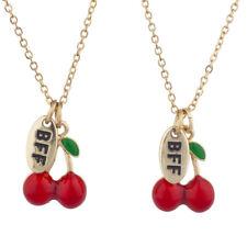 Lux Accessories Gold Tone Cherry Fruit BFF Best Friends Charm Necklace Set 2PC