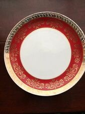 Vintage Royal Stafford Large Plate in Burgundy and Gold Lace.