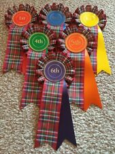 1st - 6th Place Tartan Rosettes Dog Show, horse pony gymkhana NHS prize