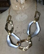 ALEXIS BITTAR GOLD TONE WARM GRAY LUCITE WAVY LINK NECKLACE