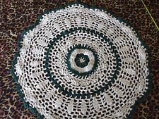 "13"" ROUND EGG SHELL  WHITE AND FOREST GREEN CROCHETED DOILIE  LOT- J"