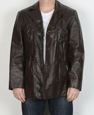 "Leather Jacket UK 38"" Medium Fitted Brown 70's With liner (693G)"