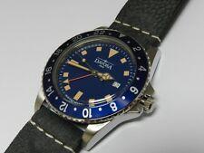 Davosa Ternos Vintage Diver GMT, Quartz, 39mm, Swiss, blue dial