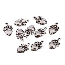 10pcs Heart Flower Tibetan Silver Bead charms Pendants Fit DIY 15*12mm