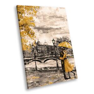 Yellow Black White London  Portrait Scenic Canvas Wall Art Large Picture Print