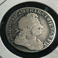 1723 GREAT BRITAIN SILVER SHILLING  COIN
