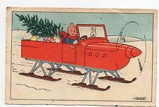 Carte postale Hergé. carte Neige. l'hydroglisseur. écrite et datée 1942