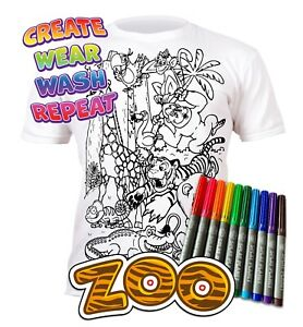 Splat Planet Colour-in Zoo Animals T-Shirt 10 Magic Pens-Colour-in and Wash Out