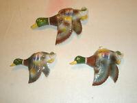Vintage 3 UCAGCO Figural Wall Pockets Mallard Ducks in Flight Wings Down Japan