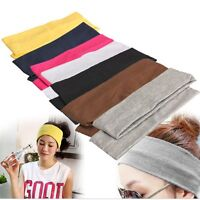 5PCS PLAIN HEADBAND Elastic Stretch Sports Yoga Hair Band Unisex Wide Wrap New.