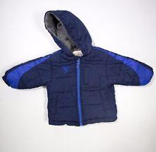 Boys OshKosh B'gosh Striped Hooded Navy Heavyweight Puffer Jacket 18M Winter