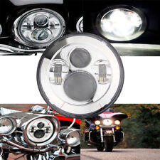 "7"" Inch Motorcycle Projector Daymaker Headlight LED Light Harley Chrome Headlamp"