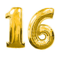 """40"""" Large 16 Gold Number Balloons 16th Birthday Anniversary Foil Float Helium"""