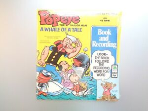 New Vintage Popeye The Sailor Man A Whale Of A Tale 45 RPM Book And Recording
