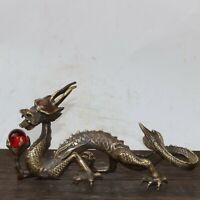 20cm noble fengshui Decor copper bronze Dragon Lucky loong playing ball statue