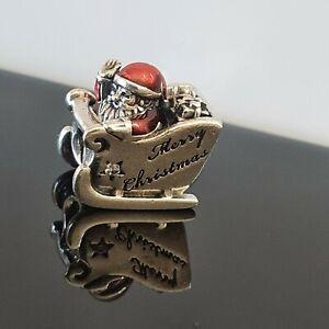 Pandora Santa Sleigh Father Christmas Red Enamel Silver Charm 792004 Free Post