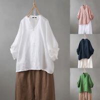 ZANZEA Women Long Candy Sleeve Casual V Neck Cotton Blouse Ladies Tops Shirt
