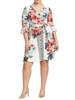Leota Ruffle Sleeve Floral Ilana Jersey Fit And Flare Dress Size Medium
