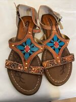 L'Artiste Spring Step Women's Brown Floral Sandals Size 37