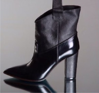 GIORGIO ALTAMODA MADE IN ITALY BLACK LEATHER WOMEN  ANKLE BOOTS EU 36.5 Us 6