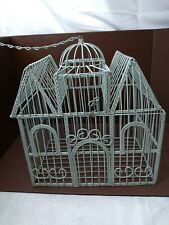 Vintage Light Blue Victorian House Shaped Bird Cage Decor - Opens From Top