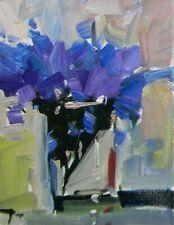 "JOSE TRUJILLO OIL PAINTING 8X10"" Impressionism Flowers Irises Purple Blue SIGNED"