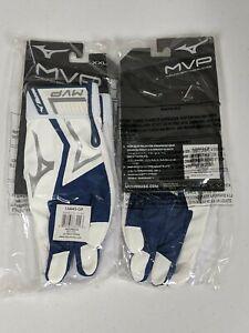 Mizuno MVP Baseball Softball Batting Gloves, Adult 2XL, White/Navy XXL